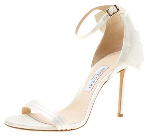 Jimmy Choo Satin Leather Ankle Strap Open Toe White Sandals