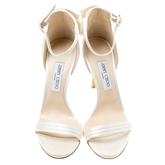 Jimmy Choo Satin Leather Ankle Strap Open Toe White Sandals Image 1