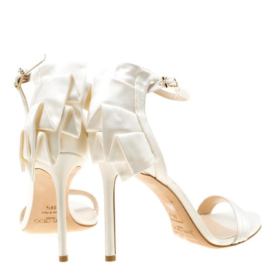 Jimmy Choo Satin Leather Ankle Strap Open Toe White Sandals Image 2