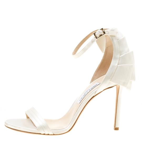 Jimmy Choo Satin Leather Ankle Strap Open Toe White Sandals Image 3