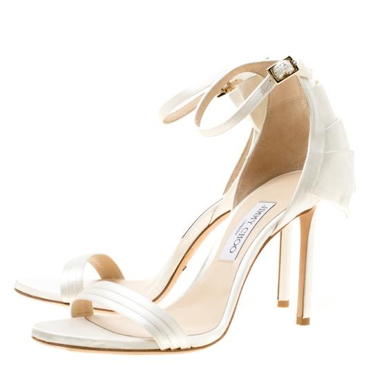 Jimmy Choo Satin Leather Ankle Strap Open Toe White Sandals Image 4