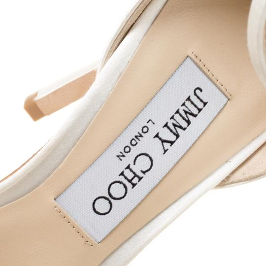 Jimmy Choo Satin Leather Ankle Strap Open Toe White Sandals Image 6