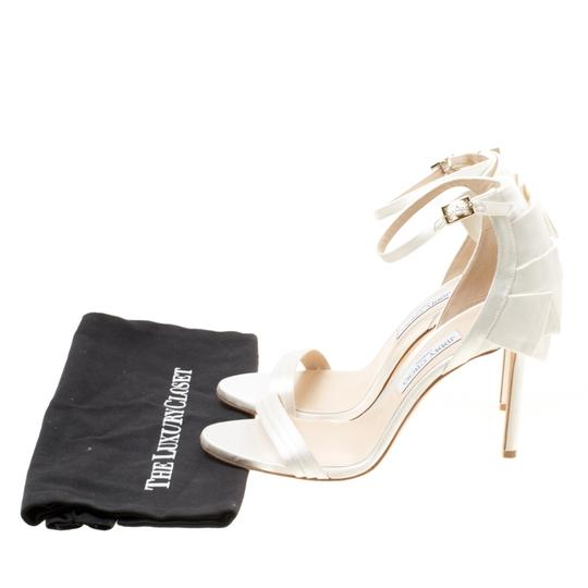 Jimmy Choo Satin Leather Ankle Strap Open Toe White Sandals Image 7