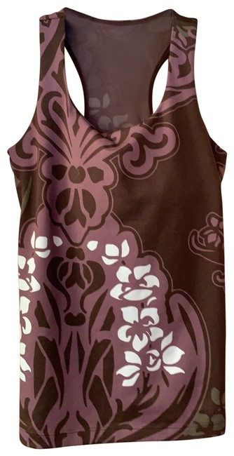 Item - Brown Purple White Olive Yoga Workout Sports Pattern Activewear Top Size 4 (S)