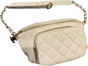 Item - Belt Off White Waist with Gold Hardware Quilted Caviar Leather Cross Body Bag