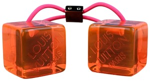 Louis Vuitton Louis Vuitton Neon Orange Resin Cubes Hairtie Ponytail SALE!