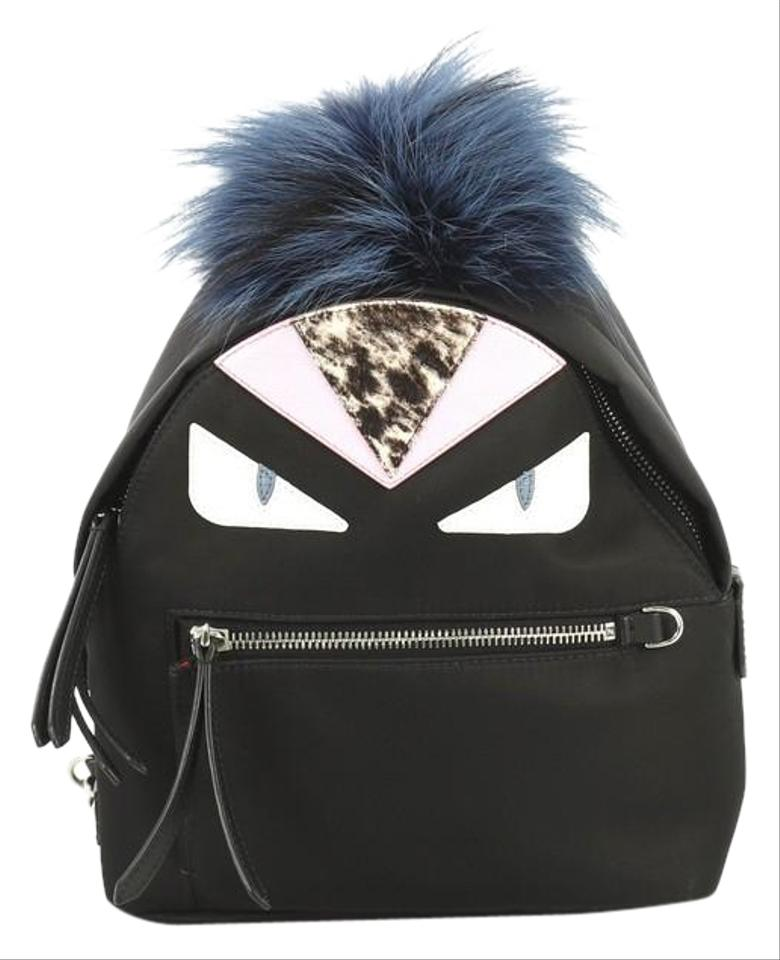 5c1882f9 Fendi Monster and Fur Mini Black Nylon with Leather Backpack 74% off retail