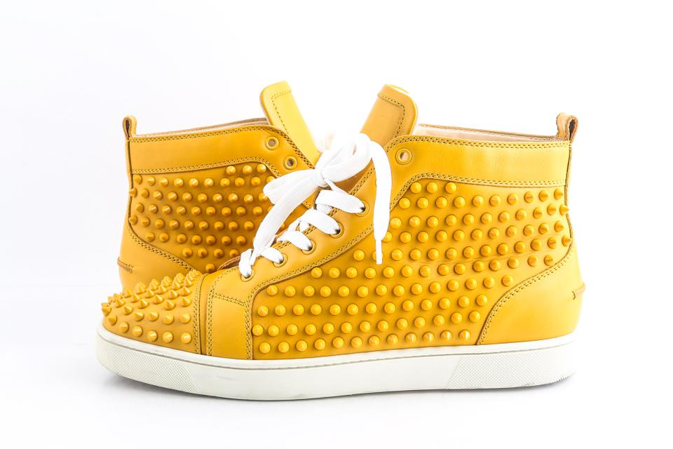 cheap for discount 2c77e 172fb Christian Louboutin Yellow Spike Leather Louis High Top Sneakers Shoes 29%  off retail