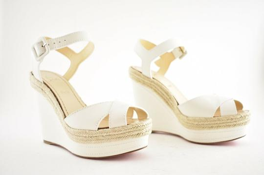 Christian Louboutin Pigalle Stiletto Classic Galeria Studded white Wedges Image 3
