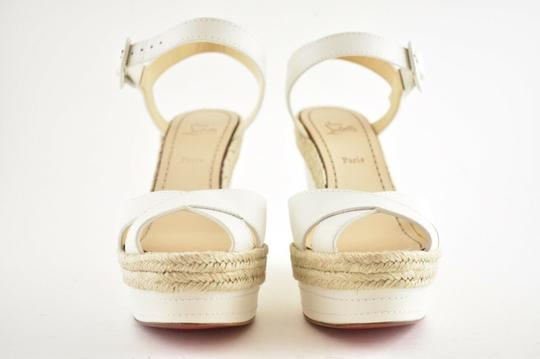 Christian Louboutin Pigalle Stiletto Classic Galeria Studded white Wedges Image 4
