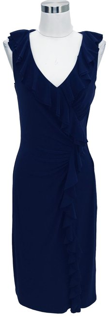 Item - Purple N961 Small Solid Ruffle Mid-length Formal Dress Size 6 (S)