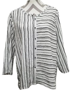 Habitat Clothes And Stripes Buttons Top Black & White
