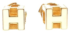 Hermès Rare Pop H gold cube hardware earrings stud