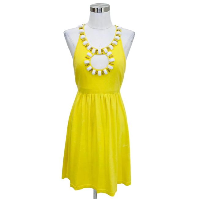 Item - Yellow White N983 Designer 6 Beaded A-line Short Casual Dress Size 4 (S)