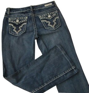 Miss Chic Jeans Crystals Distressed Juniors Boot Cut Jeans-Distressed