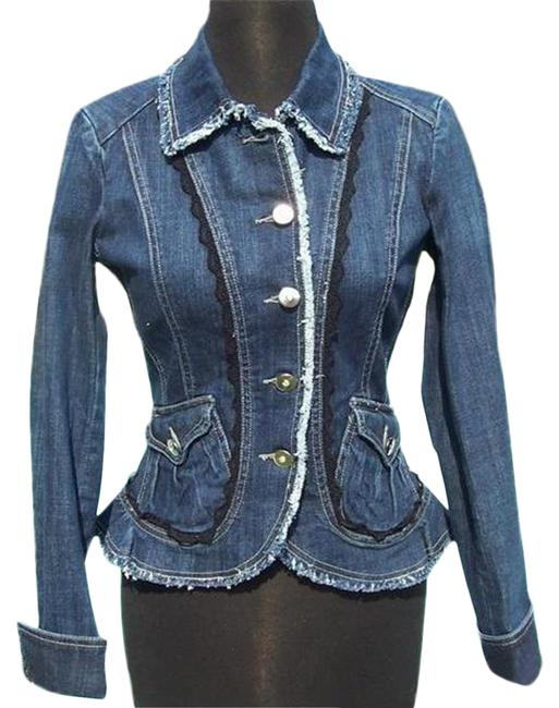 Item - Blue Rhinestone Buttons Top New 2/4/6 S Lace Trim Jacket Size 4 (S)