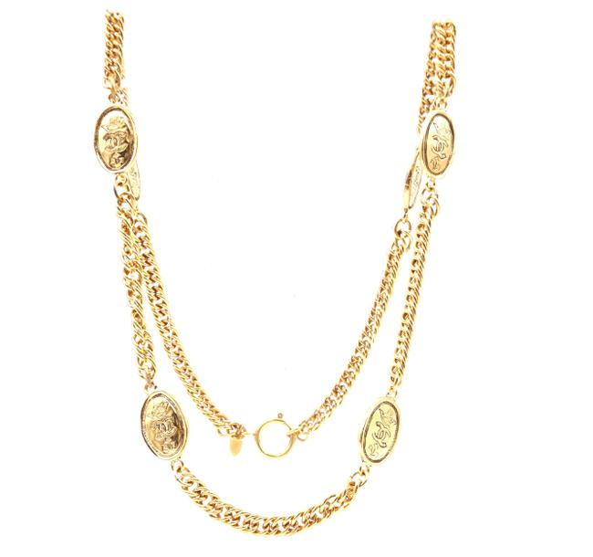Item - #31357 Gold Rare Cc Long Medallion Chain Belt Two Way Necklace