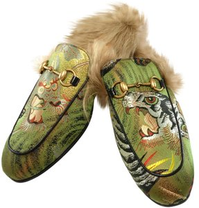 Gucci Slippers Horsebit Logo Shearling Silk Green Mules
