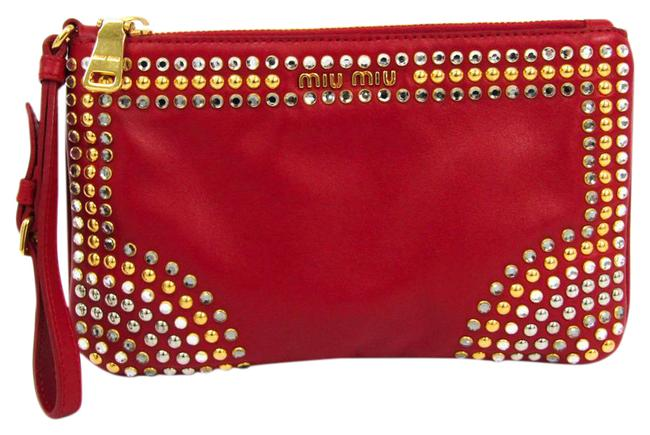 Item - 5n1811 Women's Studded Red Leather Clutch
