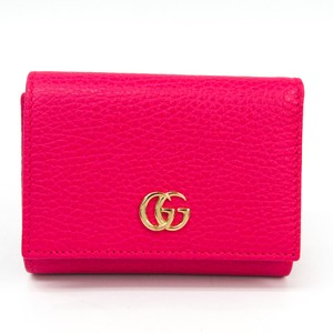 Gucci Gucci GG Marmont 474746 Women's Leather Wallet (tri-fold) Pink