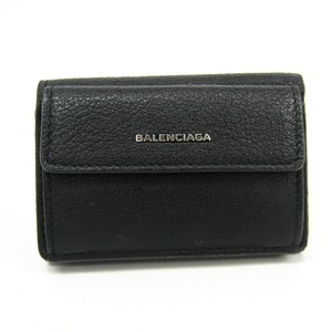 Balenciaga Balenciaga Essential Mini Wallet 410133 Women's Leather Wallet (tri-fold) Black