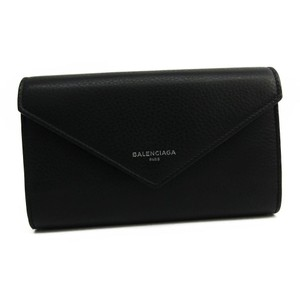 Balenciaga Balenciaga PAPER ZA MONEY 371661 Women's Calfskin Long Wallet (bi-fold) Black
