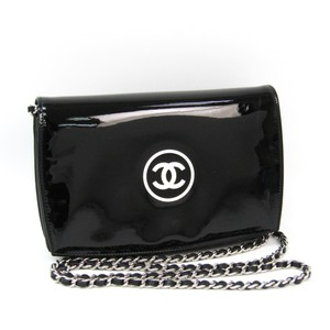 Chanel Chanel Make-up Line Women's Patent Leather Chain/Shoulder Wallet Black