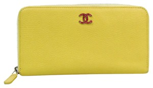 Chanel Chanel Women's Calfskin Long Wallet (bi-fold) Yellow
