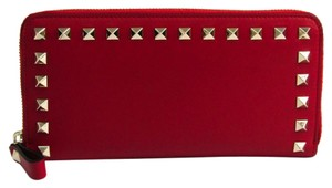 Valentino Valentino Rock Studs Wallet Women's Leather Long Wallet (bi-fold) Red