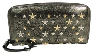 Jimmy Choo Jimmy Choo FILIPA Metallic Mix Star Studs Women's Leather Long Wallet (bi-fold) Dark Gray