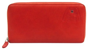 Chanel Chanel Jacket Stamped Round Fastener A50130 Women's Leather Long Wallet (bi-fold) Coral Orange