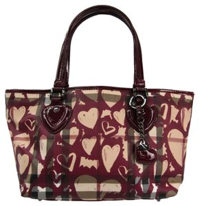 Burberry Tote in Beige / Bordeaux