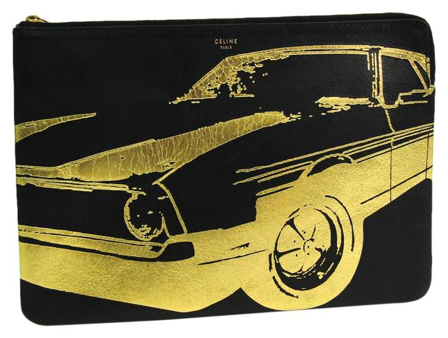Item - Pouch Black / Gold Leather Clutch