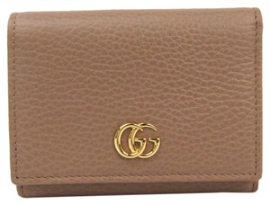Gucci Gucci GG Marmont 474746 Women's Leather Wallet (tri-fold) Beige