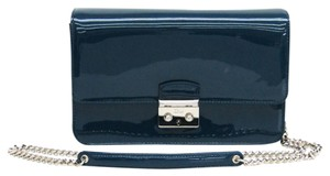 Dior Christian Dior Women's Patent Leather Chain/Shoulder Wallet Blue