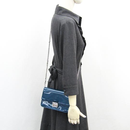 Dior Christian Dior Women's Patent Leather Chain/Shoulder Wallet Blue Image 10
