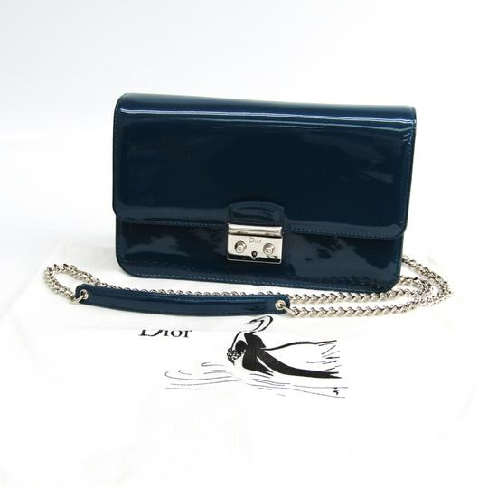 Dior Christian Dior Women's Patent Leather Chain/Shoulder Wallet Blue Image 11