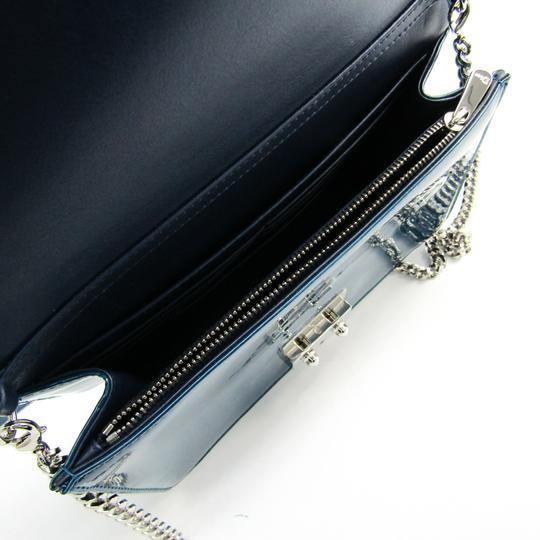Dior Christian Dior Women's Patent Leather Chain/Shoulder Wallet Blue Image 2