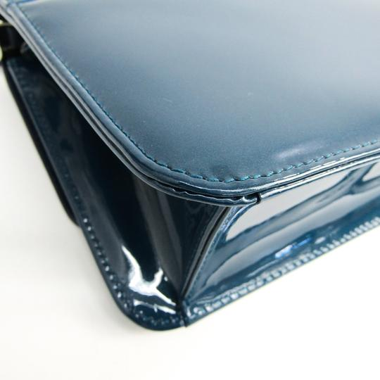 Dior Christian Dior Women's Patent Leather Chain/Shoulder Wallet Blue Image 3