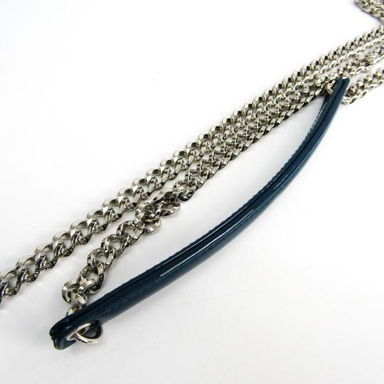 Dior Christian Dior Women's Patent Leather Chain/Shoulder Wallet Blue Image 4
