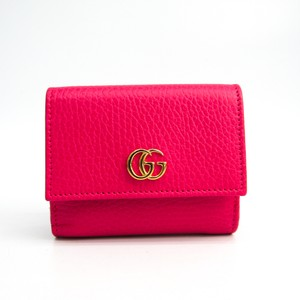 Gucci Gucci GG Marmont 524672 Women's Leather Wallet (tri-fold) Pink