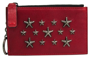 Jimmy Choo Jimmy Choo CAMELOT Unisex Leather Coin Purse/coin Case Gunmetal,Red