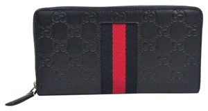 Gucci Gucci Web 408831 Unisex GG Leather Long Wallet (bi-fold) Navy,Red