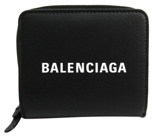 Balenciaga Balenciaga 490618 Unisex Leather Wallet (bi-fold) Black