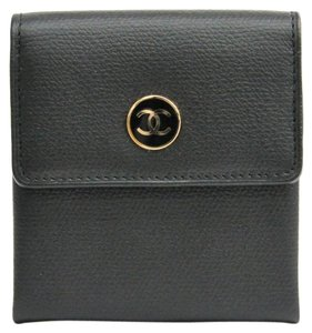 Chanel Chanel Coco Button A20907 Women's Embossed Leather Coin Purse/coin Case Black
