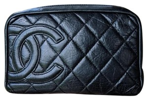 Chanel CHANEL Black Calfskin Cambon Jewelry Cosmetic Case Accessories Pouch