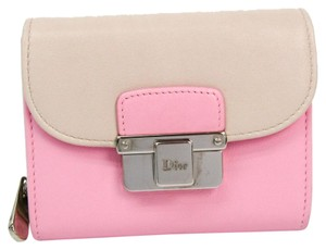 Dior Christian Dior Diorling Compact Wallet Women's Leather Wallet Light Beige,Pink
