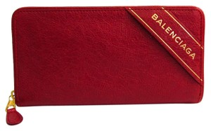 Balenciaga Balenciaga BLANKET 466544 Women's Leather Long Wallet (bi-fold) Red