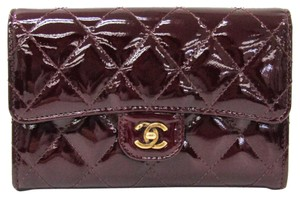 Chanel Chanel Matelasse Women's Patent Leather Middle Wallet (bi-fold) Bordeaux