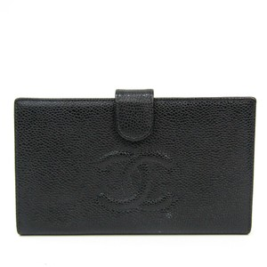 Chanel Chanel Caviar Leather Long Wallet (bi-fold) Black